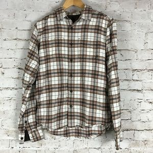 Prana Men's Flannel Shirt Size Small Brown Plaid L